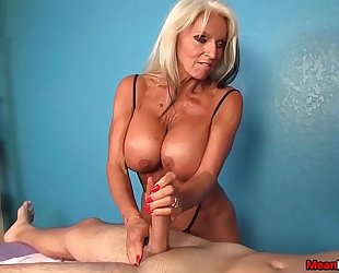 Experienced white hotwife slaver handjob