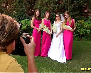 Bride triple teamed by her hawt lesbian bridesmaids on her wedding day