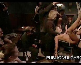 Slut Publicly Humiliated and Gangbanged