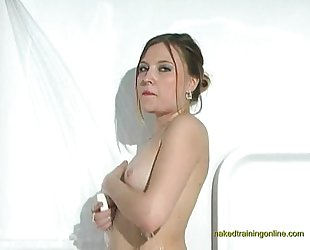 Porn Star Katrina naked and wet in the shower
