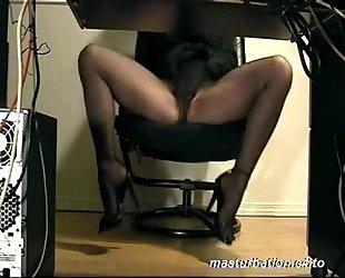 Secretary Dora underdesk masturbation