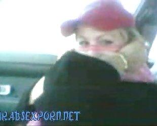 Arab girl sucking in a car