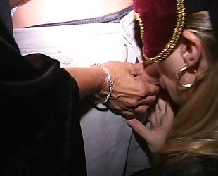 Masked MILF Tia and her crazy horny friends fuck at orgy