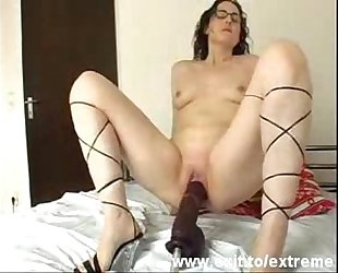 Bizarre insertions. Kinky mother from Germany plays with huge toy