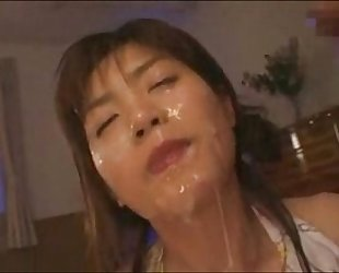 Hot Asian with Facial Cum Blowjobs Two Guys at Once
