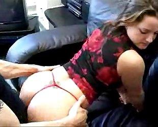 Beautiful Brunette Hot Sex on the Sofa