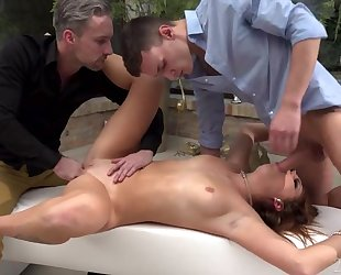 Cute Slovakian babe with natural boobs gets double fucked