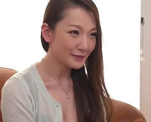 Insatiable Japanese lady with big naturals gets fucked hard in threesome
