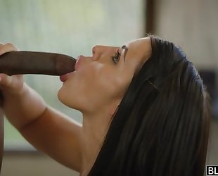 All-natural porn babe gets fucked hard by 3 horny black studs