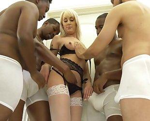 Slender blonde woman in white stockings get gangbanged