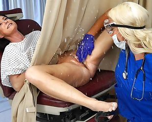 Busty blonde doctor makes her patient squirt and cum