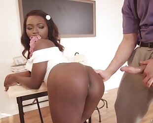 Black schoolgirl with natural tits gets fucked in both holes