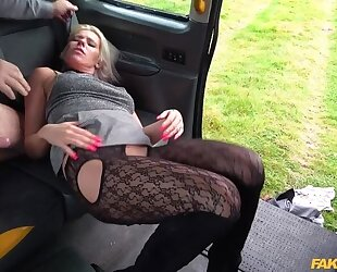 Spunky blonde MILF gets fucked by horny taxi driver