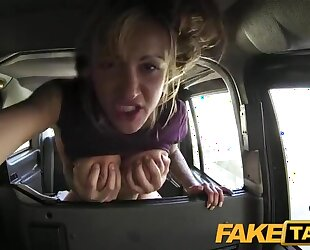 Busty British chick gets anal from horny taxi driver