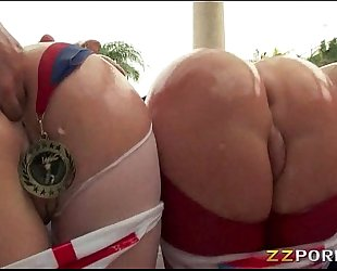 Three biggest ass hotties assholes drilled up with big shaft