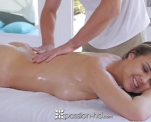 Hot blond fucked hard after massage